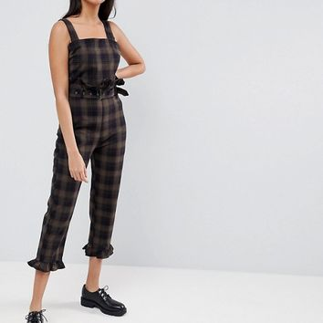 ASOS Jumpsuit in Check with Frill Hem and Waist Detail at asos.com