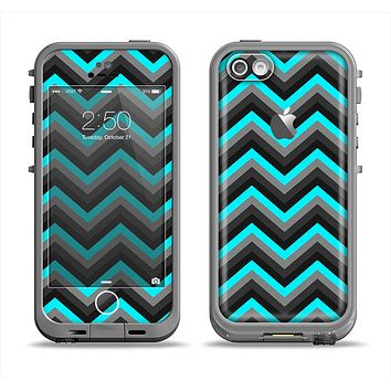 The Turquoise-Black-Gray Chevron Pattern Apple iPhone 5c LifeProof Fre Case Skin Set