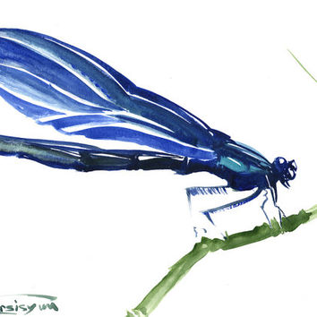 Blue Dragonfly, Original watercolor painting, 12 X 9 in, blue painting, dragonfly lover art