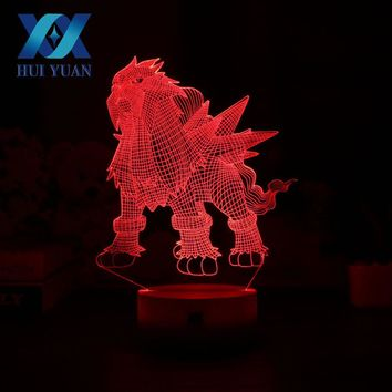 HUI YUAN  Entei 3D Night Light RGB Changeable Mood Lamp 7 Color Light Base Cool Night Light for Christmas Child GiftKawaii Pokemon go  AT_89_9