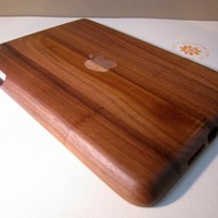 Ipad Mini case - wooden cases walnut or bamboo wood - apple logo