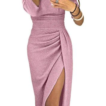 Pink Metallic Glitter Off Shoulder Formal Dress