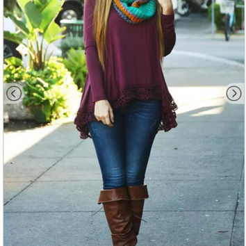 Burgundy Long Sleeve T-Shirt with Lace Trim