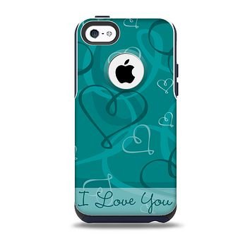 The Teal Swirly Vector Love Hearts Skin for the iPhone 5c OtterBox Commuter Case