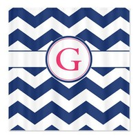 Navy Chevron Monogram G Shower Curtain on CafePress.com