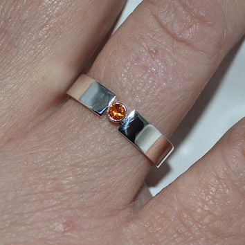 Wide Band Gemstone Ring - Sterling Silver Band - Silver Ring