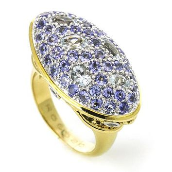 John Hardy Colorway Pave Gemstone Ring with Diamonds in 18k Yellow Gold, Size 7