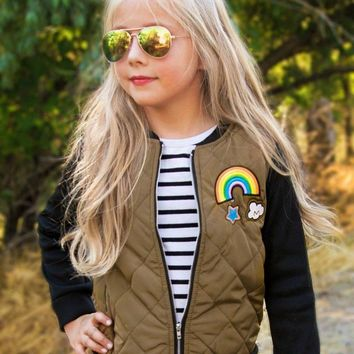 OLIVE BROWN QUILTED BOMBER JACKET WITH PATCHES