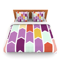 "Pellerina Design ""Orchid Geometric Chevron"" Purple Arrows Lightweight Duvet Cover"
