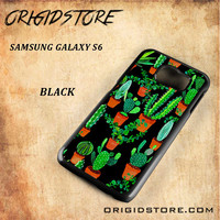 Cactus Black Pattern For Samsung Galaxy S6 - Gift Present Multiple Choice