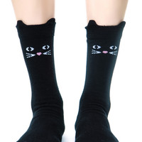 Lazy Oaf Kitty Socks Black