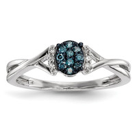 Sterling Silver Blue & White Diamond Oval Ring