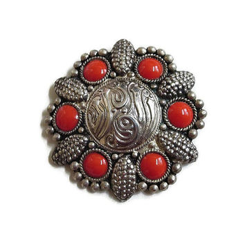 Sterling Silver Red Cabochons Ethnic Brooch Vintage