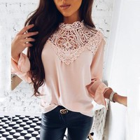 CREYLD1 OYDDUP Spring 2018 Ladies New Sweet Hollow Out Flower Blouse Casual Lace Patchwork Tops Long Sleeve Chiffon Shirts