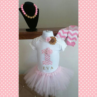 First Birthday Girl Pink Gold Chevron Tutu Onesuit - Hot Pink - Personalized - Flower - Cake Smash Outfit - Leg warmers