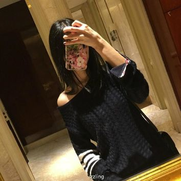 2016 Cotton Poncho Women Sweater Top Fashion Pullover The New Spring 2017 Sets Stripes Can Be Off-the-shoulder Number Female