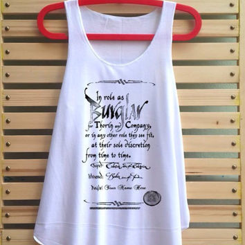Hobbit shirt Bilbo Burglar Contract Shirt Loose Fit Tank Top Women Clothing Tunic Vest - Size S M L