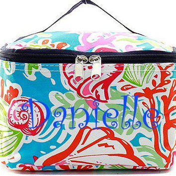 Navy Coral Reef Monogrammed Cosmetic Bag  Tropical Cosmetic Bag  Monogrammed Makeup Bag