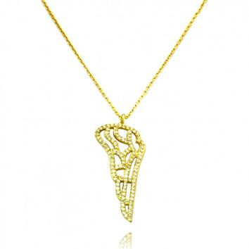 "TIONEER® Angel Wing 18K Yellow Gold Plated Sterling Silver Pendant Necklace with 16""+2"" Chain"