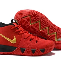 Nike Men's Kyrie Irving 4 Red/Black/Gold Basketball Shoes US7-12