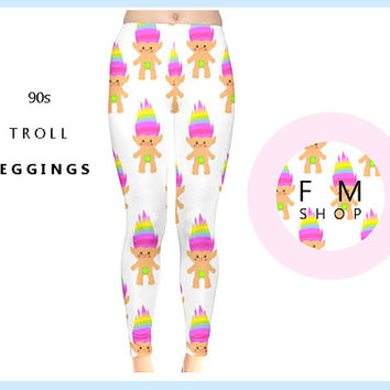 Troll/90s/90s/90's fashion/90s pattern/pastel/pastel grunge/grunge/hipster/rave/hipster/leggings,tights,clothing,retro/smiley/pizza/dope/tee