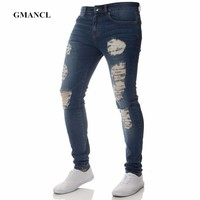 Mens Casual Stretch denim Skinny Jeans Pants Men Solid Black Blue Pencil Jeans Ripped Beggar Jeans With Knee Hole For Youth Men