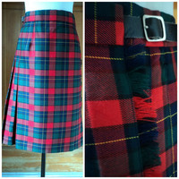 Vintage 90s Skirt PLAID Pleated Kilt Allen Solly Wool Wrap Skirt High Waisted Green Red Yellow Black Tartan Plaid sz 12 32W