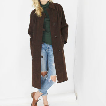 vtg 70s SUEDE duster coat chocolate brown suede coat minimalist maxi leather duffel coat long duster os large lrg l