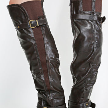 Shelbi Brown Leatherette Triple Buckle Thigh High Riding Engineer Boot