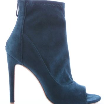 Corina-4 Stretchy Peep Open Toe Ankle High Stiletto Heel Bootie Shoes Boot Teal