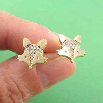 Little Red Fox Face Shaped Rhinestone Stud Earrings in Gold