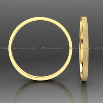 Skinny Yellow Gold Wedding Band, Stuck Band, 1.50mm Wide