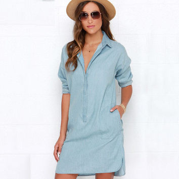 Women Jeans Long Sleeve One Piece Dress Shirt Blouse _ 11315