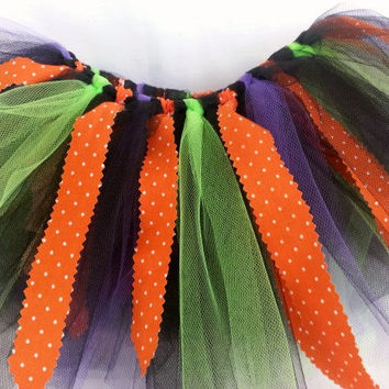 Halloween Fabric Tutu  - 2 Year Old Tutu to 3 Year Old Tutu - Toddler Tutu - Orange Black Tutu - Purple Lime Green - Girls Halloween Costume