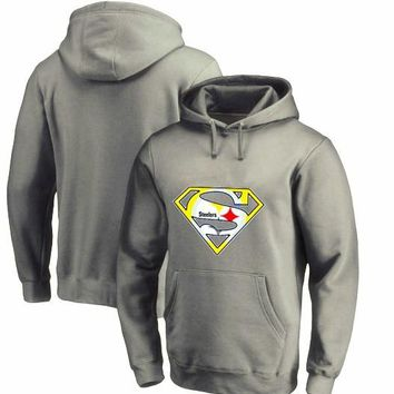 New Design Men's Fashion Tops Steelers Fans Hoodies, Superman S Logo Picture Print O-neck Pullover Winter Pittsburgh Sweatshirts