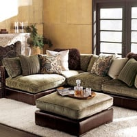 Chenille & Leather Sectional Sofa