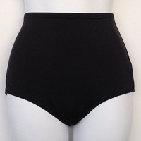 Black Classic Retro High Waisted Bikini Bottom S M by BonsoirBella