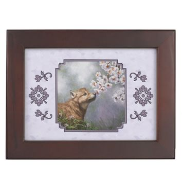 Wolf Pup and Flowers Keepsake Boxes
