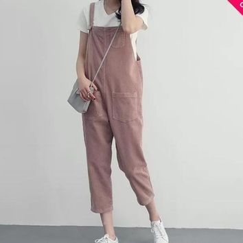 Women Fashion Casual Corduroy Overall Capris Ladies Pink Overalls With Multi Pockets 2016 New Fashion Free Shipping