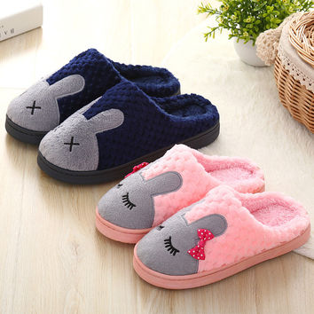 Cartoons Couple Cotton Winter Lovely Anti-skid Slippers [9067742404]