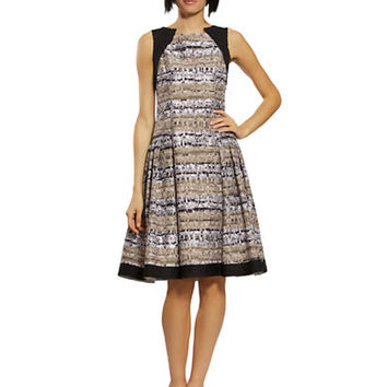 Carmen Marc Valvo Mixed Media Stripe A Line Dress