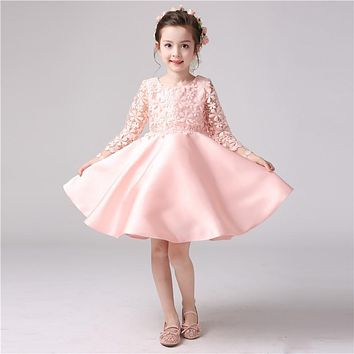 1503 Free shipping  Good quality  Flower girls dresses  Long sleeve lace kids beauty pageant dresses