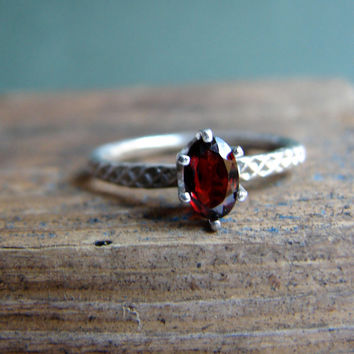 Oval Crimson Red Garnet Prong Set Sterling Silver Ring Textured Ring Red Gemstone Jewelry January Birthstone