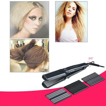 Professional Interchangeable 4 in 1 Ceramic Hair Curler Crimper Straightener Corn Waver Corrugated Wide Waves Plate Flat Iron P0