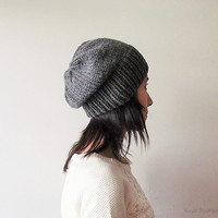Hand Knitted Chunky Hat in Medium Grey - Slouch Seamless Hat - Winter Hat - Wool Blend - Made to Order