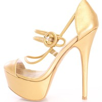 Gold Maryjane Style High Heels Faux Leather