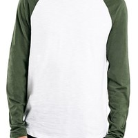 Men's Topman Long Raglan Sleeve Baseball T-Shirt,