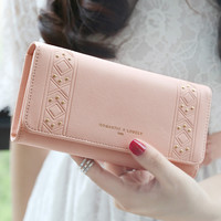 Hot sale new High quality  PU leather wallets women fashion three fold simple  personality rivet  long design wallet purse