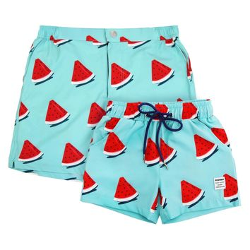 Dad and son matching swim shorts - Melon