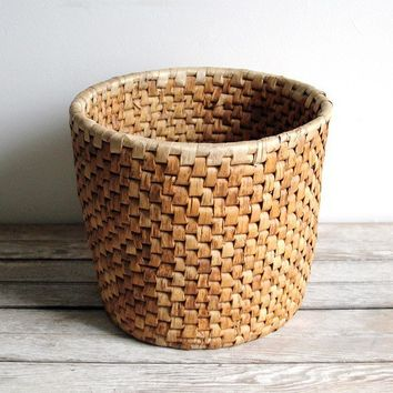 vintage handwoven round basket by lacklusterco on Etsy